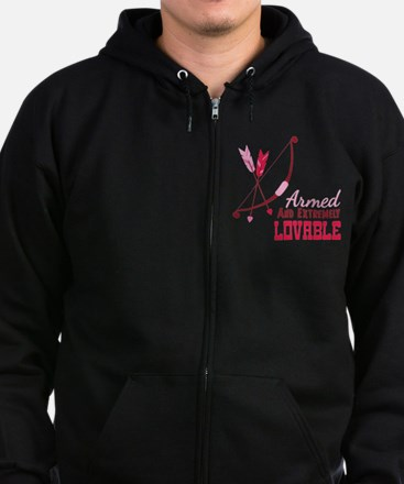 Armed AND EXTREMELY LOVABLE Zip Hoodie