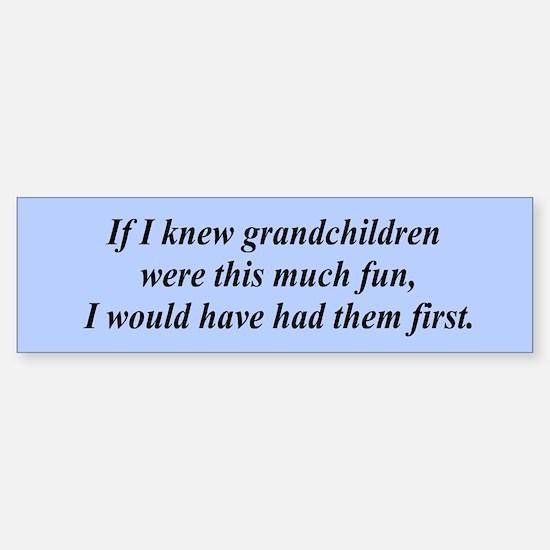 If I knew grandchildren... Bumper Bumper Stickers