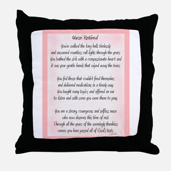 Nurse Retired Poem Throw Pillow