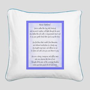Nurse Retired Poem Blue Square Canvas Pillow