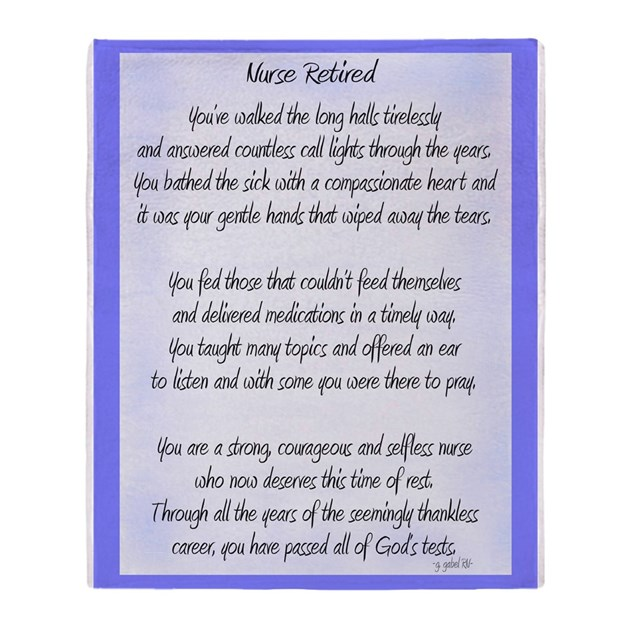 Nurse Retired Poem Blue Throw Blanket By Gailgabel