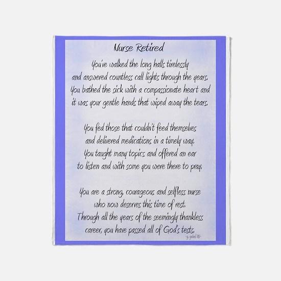 Nurse Retired Poem Blue Throw Blanket