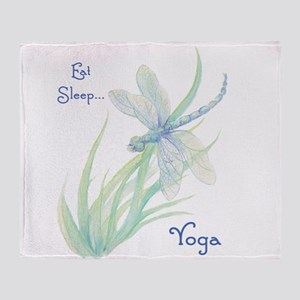 Eat, Sleep, Yoga quote Watercolor Dragonfly Art Th