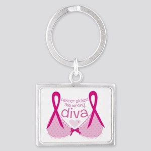 Cancer Picked Wrong Diva Landscape Keychain