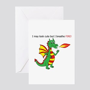 Dragon which breathes fire Greeting Cards