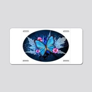 blue butterfly Aluminum License Plate