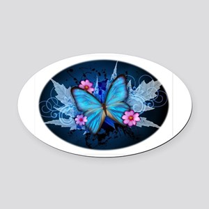 blue butterfly Oval Car Magnet