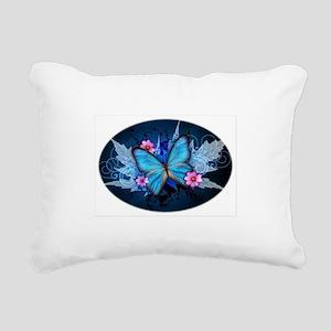 blue butterfly Rectangular Canvas Pillow