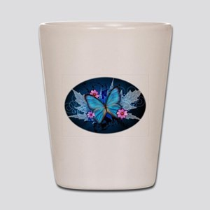 blue butterfly Shot Glass