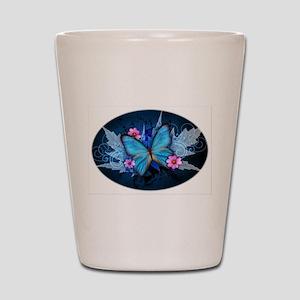 blue butterfly Shot Glass