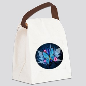 blue butterfly Canvas Lunch Bag
