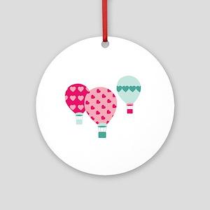 Hot Air Balloon Hearts Ornament (Round)