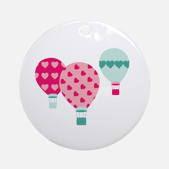 Hot Air Balloon Hearts Ornament (Round)