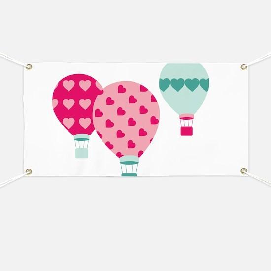 Hot Air Balloon Hearts Banner