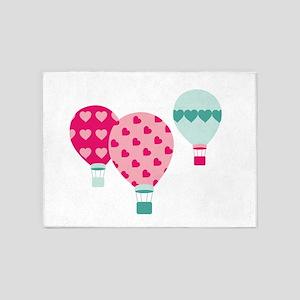 Hot Air Balloon Hearts 5'x7'Area Rug