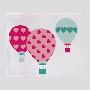 Hot Air Balloon Hearts Throw Blanket