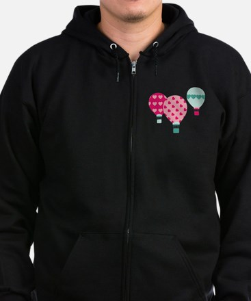 Hot Air Balloon Hearts Zip Hoodie