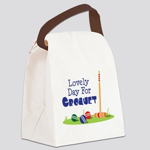 Lovely Day For CROQUET Canvas Lunch Bag