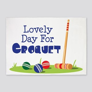 Lovely Day For CROQUET 5'x7'Area Rug