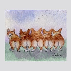 Five Corgi butts Throw Blanket