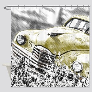 Oldtimer in the meadow Shower Curtain