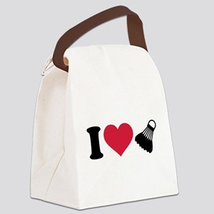 I love Badminton shuttlecock Canvas Lunch Bag