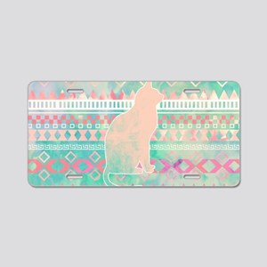 Whimsical Cat, Pink Turquoi Aluminum License Plate