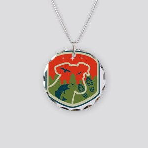 Porch Dog Shield Logo Necklace Circle Charm