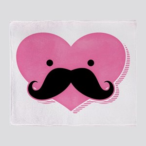 Kawaii Mustache Heart Throw Blanket