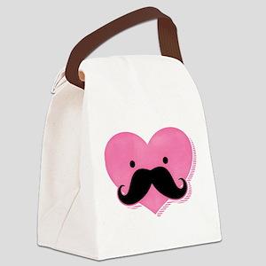 Kawaii Mustache Heart Canvas Lunch Bag