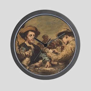 Augustin Theodule Ribot - Card Players Wall Clock