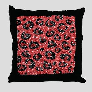 Red Black Leopard Print Throw Pillow
