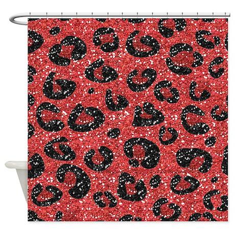 Red Black Leopard Print Shower Curtain By LeeHillerDesigns