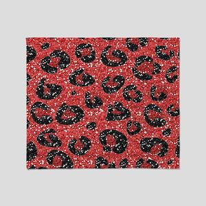 Red Black Leopard Print Throw Blanket