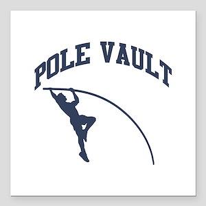 """Pole Vault Square Car Magnet 3"""" x 3"""""""