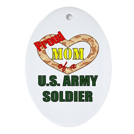 Proud Army Mom Oval Ornament