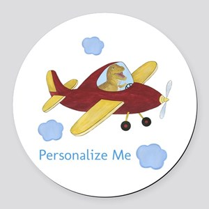 Personalized Airplane - Dinosaur Round Car Magnet