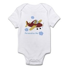 Personalized Airplane - Dinosaur Infant Bodysuit