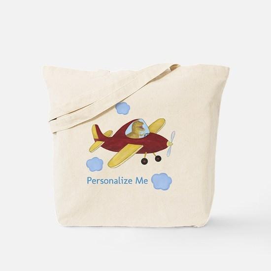 Personalized Airplane - Dinosaur Tote Bag
