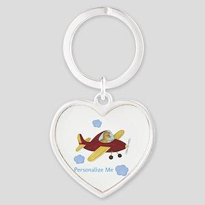 Personalized Airplane - Dinosaur Heart Keychain