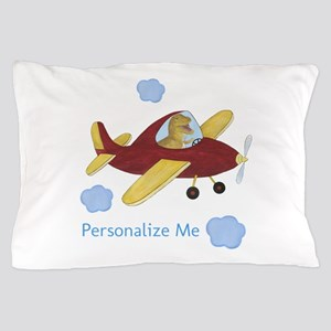 Personalized Airplane - Dinosaur Pillow Case