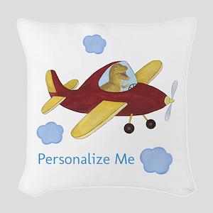 Personalized Airplane - Dinosaur Woven Throw Pillo