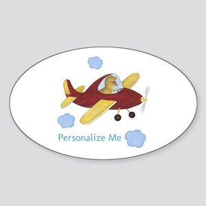 Personalized Airplane - Dinosaur Sticker (Oval)
