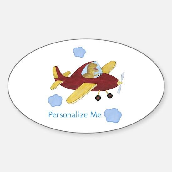 Personalized Airplane - Dinosaur Sticker (Oval)