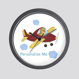 Personalized Airplane - Dinosaur Wall Clock