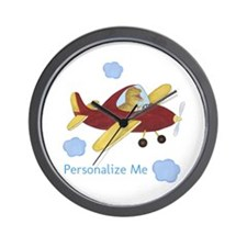 Personalized Airplane - Dinosaur Wall Clock