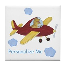 Personalized Airplane - Dinosaur Tile Coaster