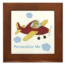 Personalized Airplane - Dinosaur Framed Tile