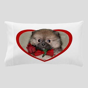 Valentines Pomeranian puppy Pillow Case