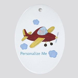 Personalized Airplane - Elephant Ornament (Oval)
